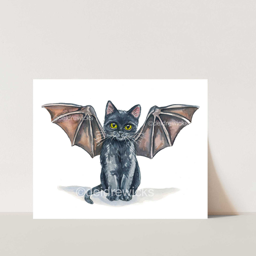 Watercolor painting of a tiny black kitten who thinks he's a bat