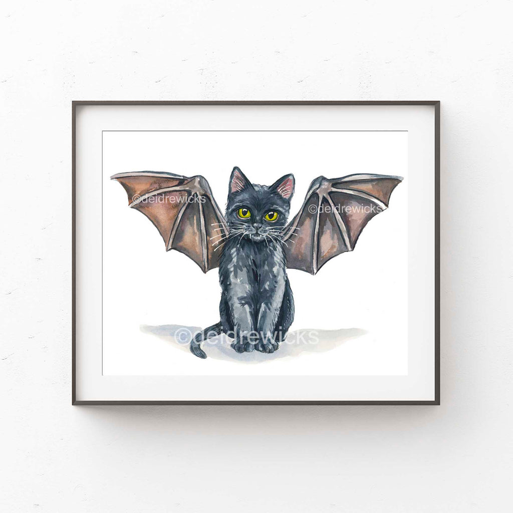 Framed example of a black cat watercolour nursery print by artist Deidre Wicks