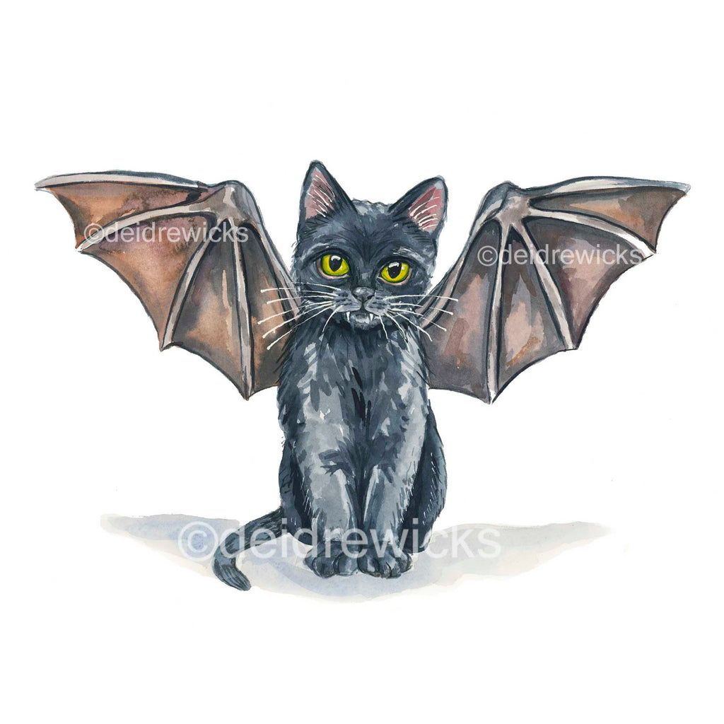 Watercolour painting of a little black cat wearing bat wings