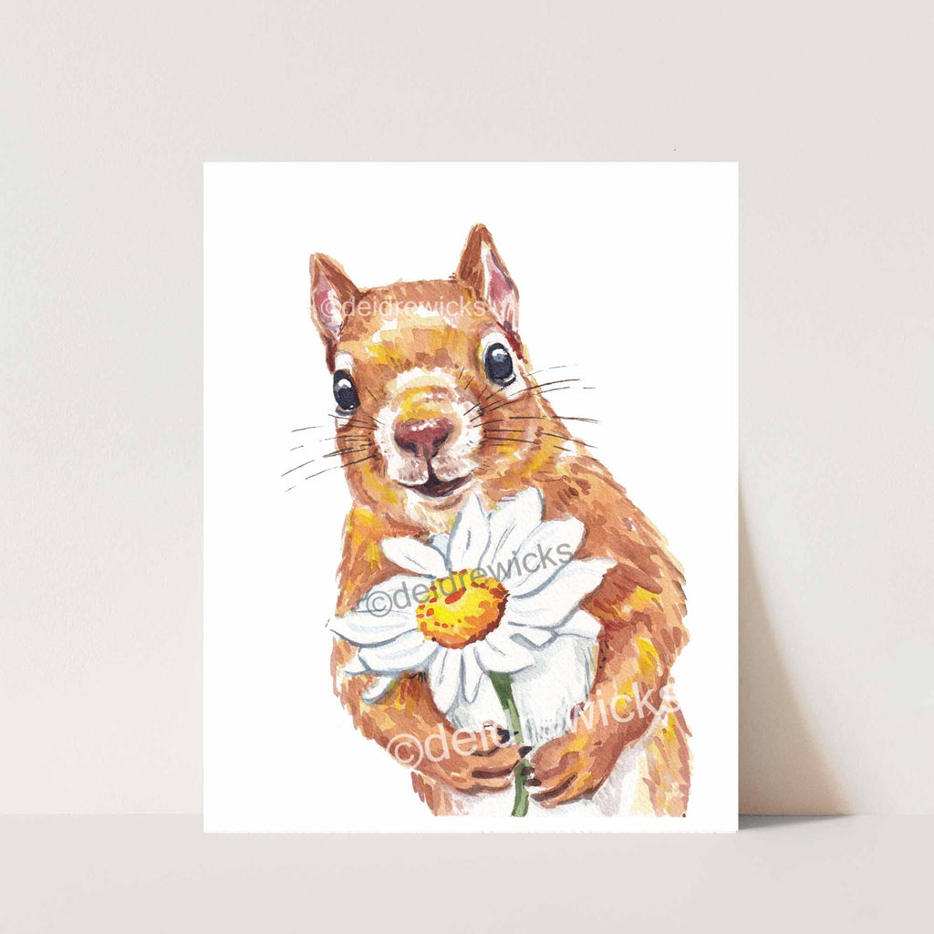Fine art watercolour print of a love-struck squirrel holding a daisy flower