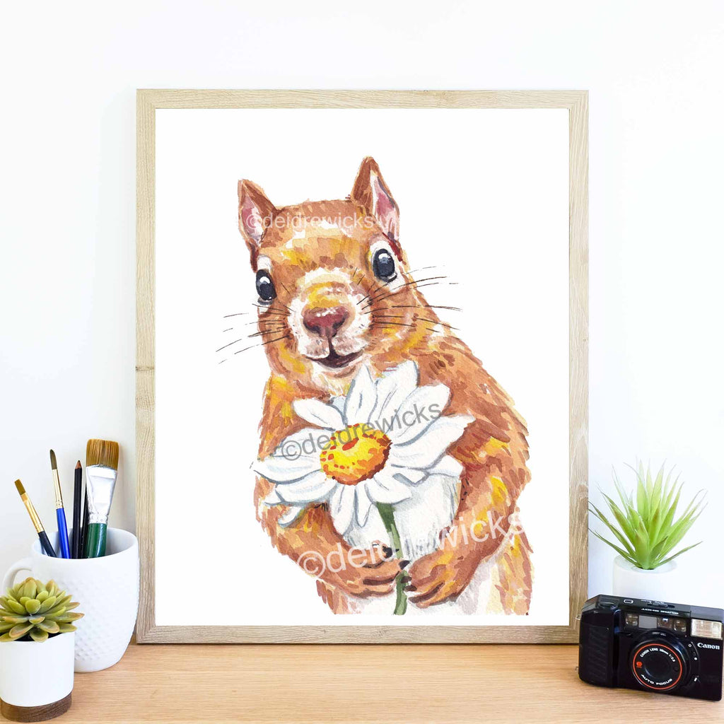 Framed example of a squirrel watercolor painting by Deidre Wicks