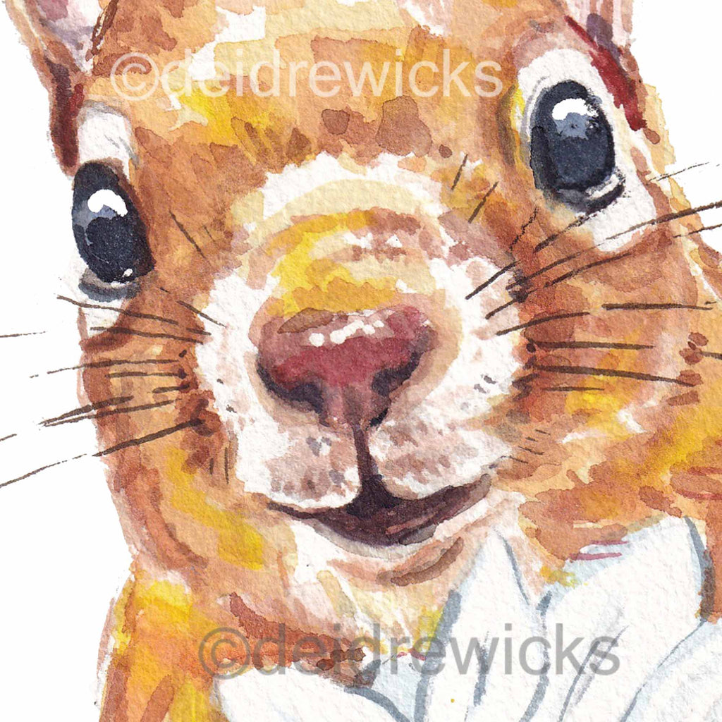 Close up of a squirrel watercolour painting my Water In My Paint