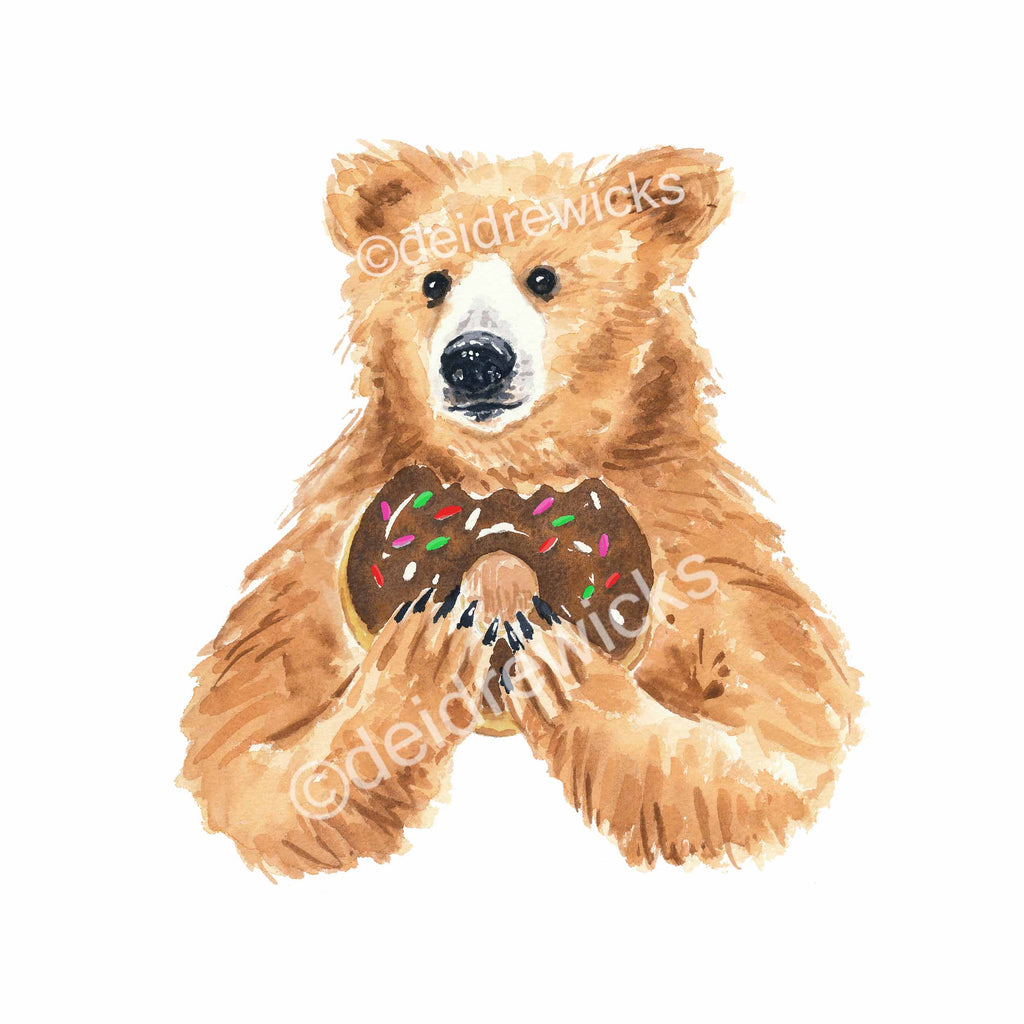 Watercolour painting of a grizzly bear holding a chocolate sprinkle donut