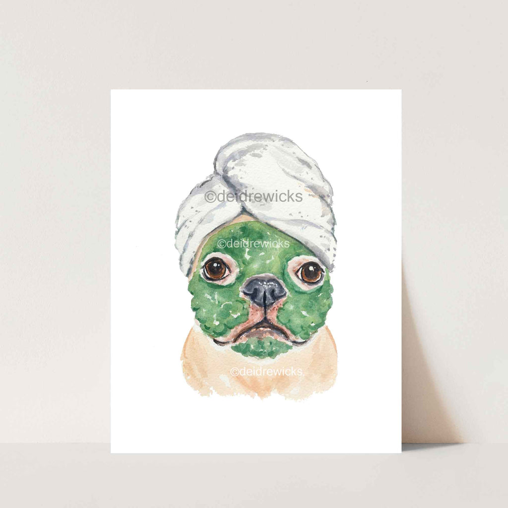 Watercolor painting of a dog wearing a bath towel on her head and a clay face mask