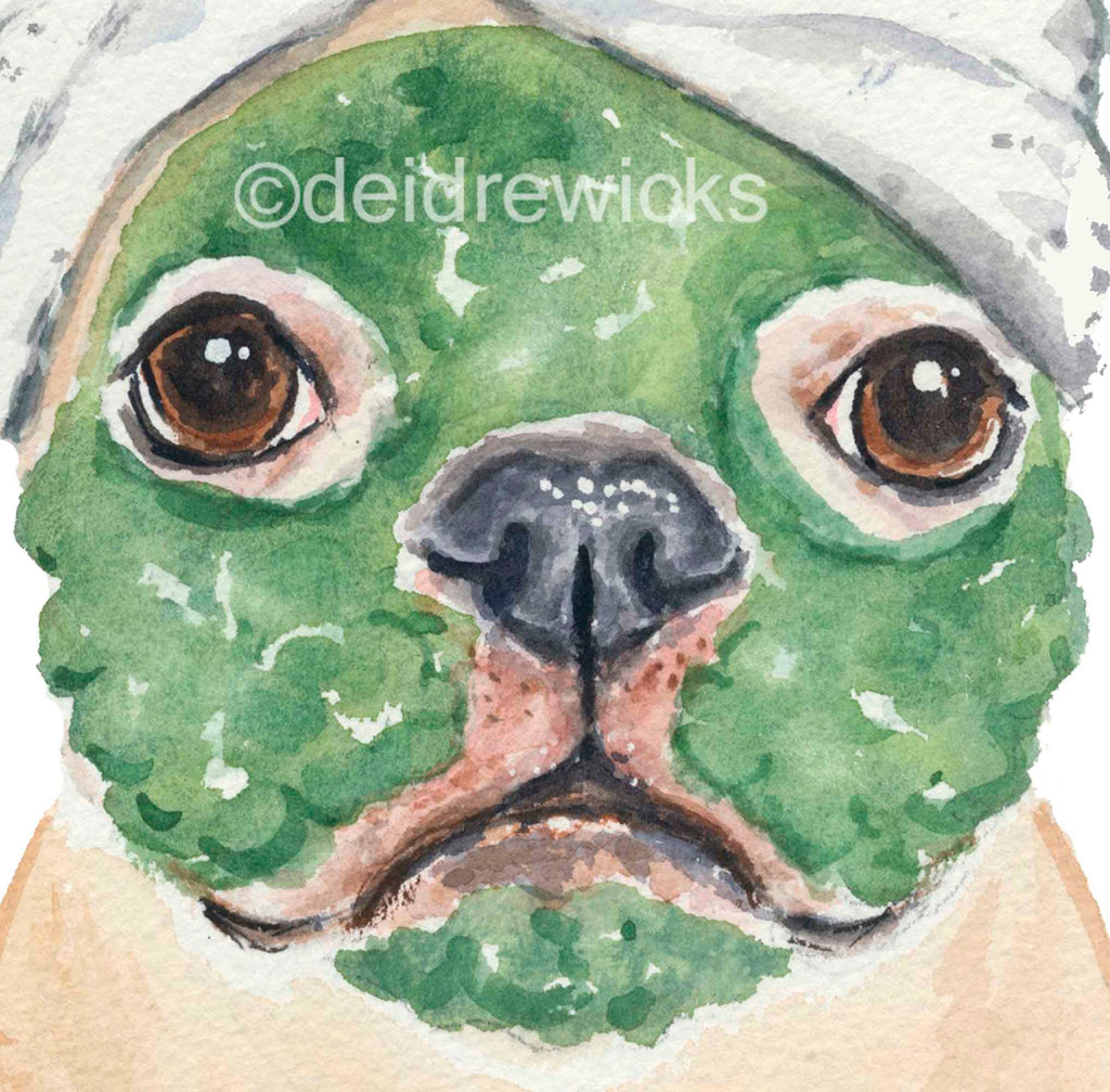 Close up of a watercolor of a dog with a clay face mask