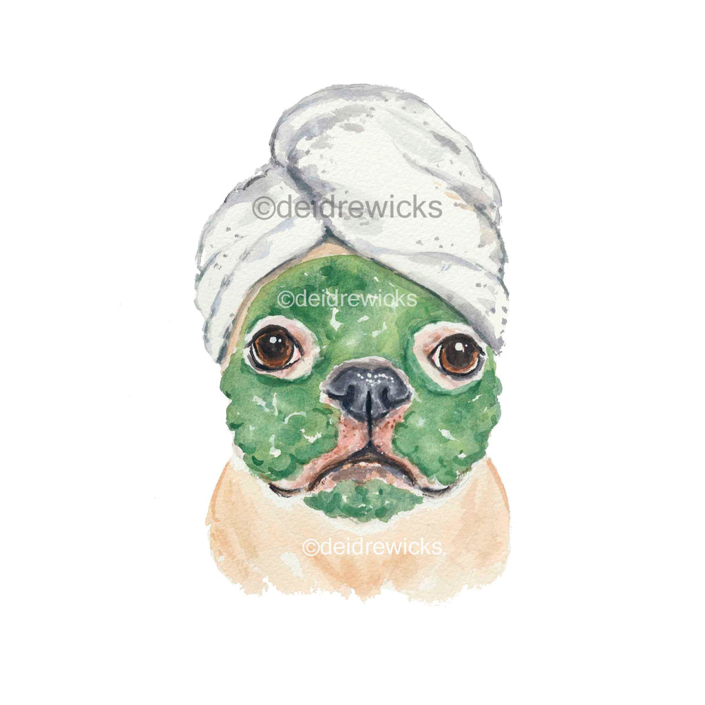 Watercolour painting of a french bulldog having a clay mask facial