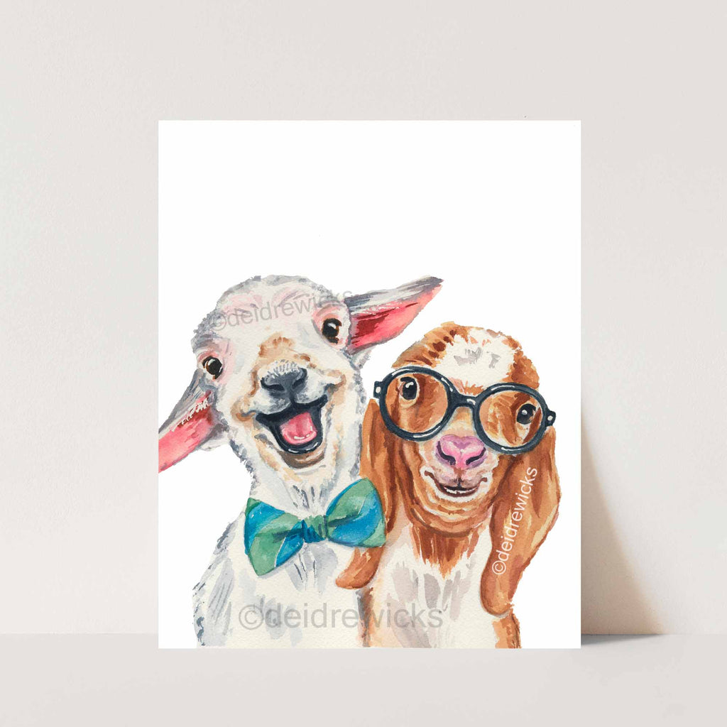 Watercolor print of a baby lamb and goat who are BFFs by artist Deidre Wicks