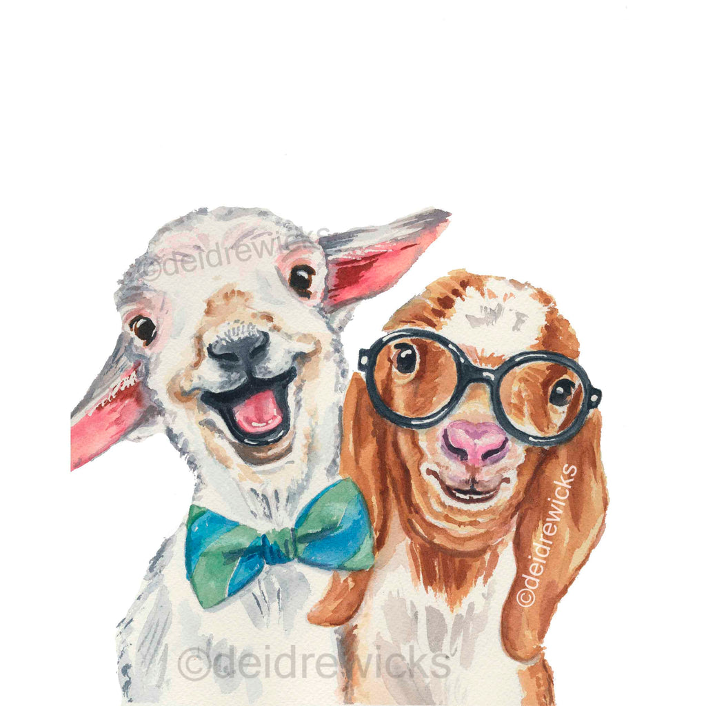 Watercolour painting of 2 best friends, a baby lamb and a baby goat