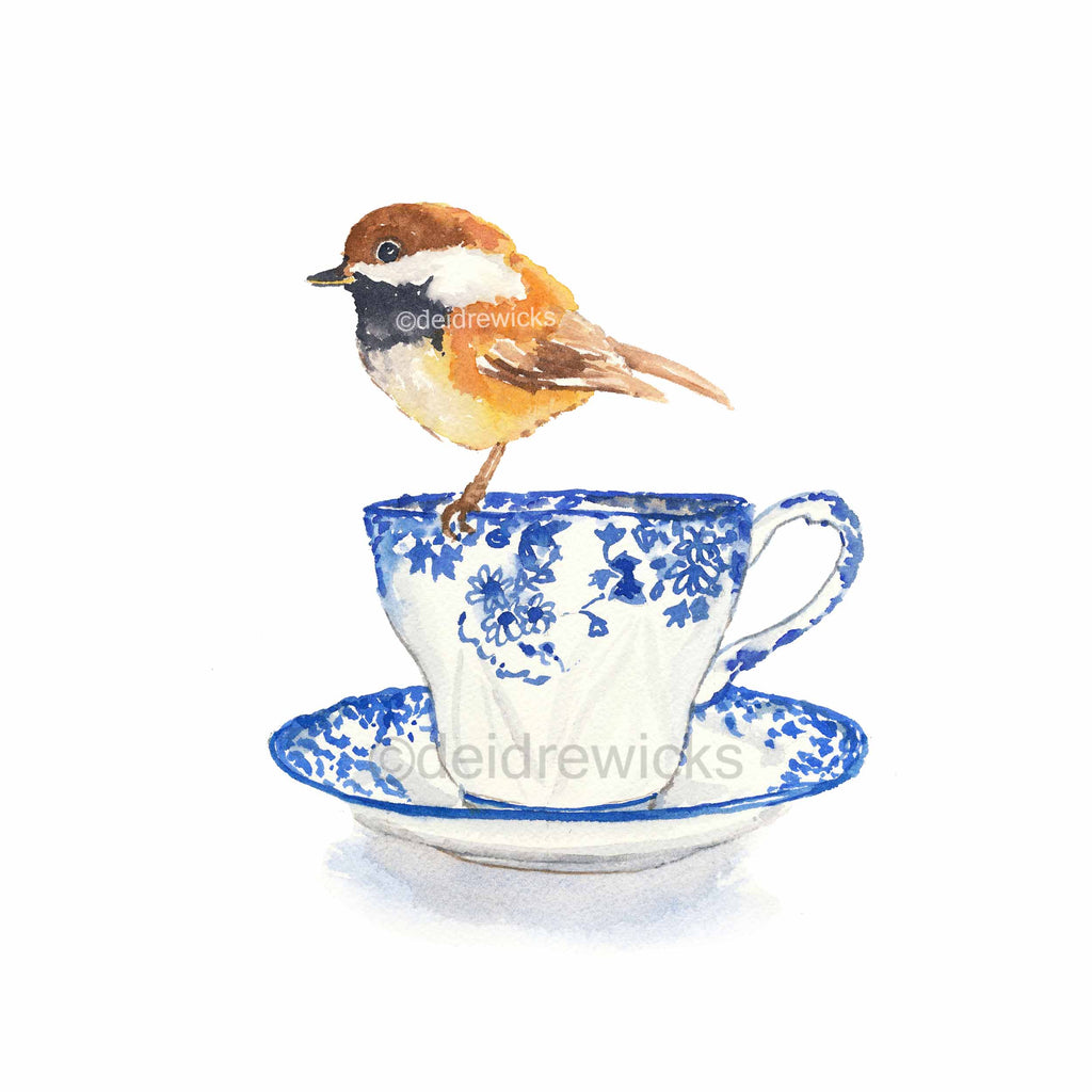 Watercolour painting of a chickadee bird perched on a tea cup