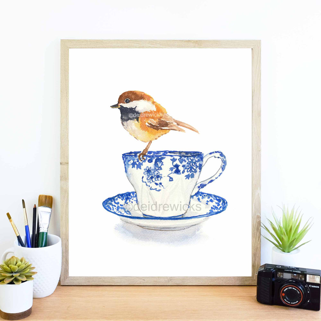 Print of a painting of a chickadee bird on a tea cup by Water In My Paint