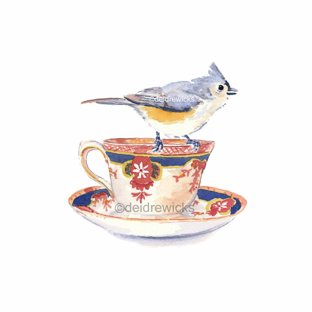 Watercolour painting of a tufted titmouse bird on a tea cup