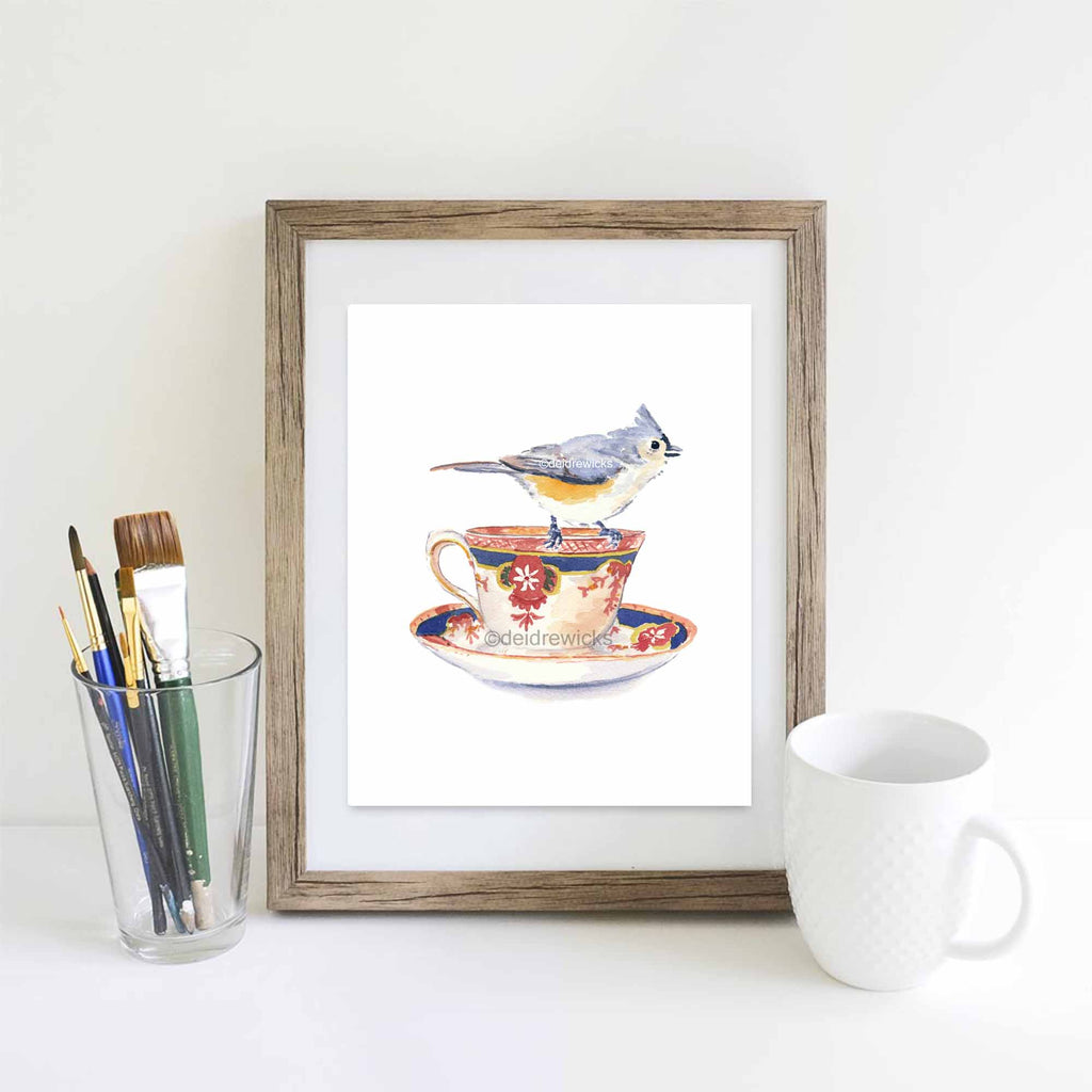 Suggested framing for a bird watercolor painting print by Deidre Wicks