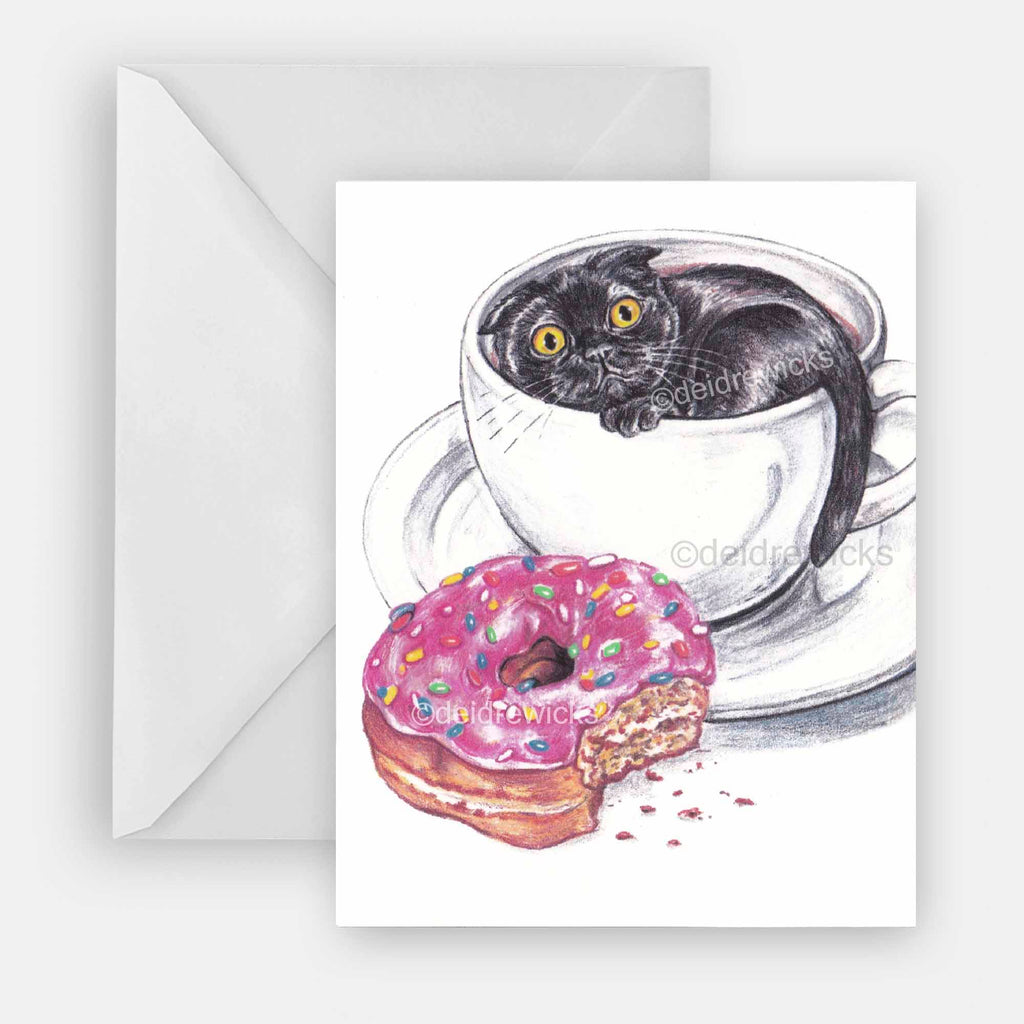 Eco friendly blank notecard of a black cat in a coffee cup with a donut