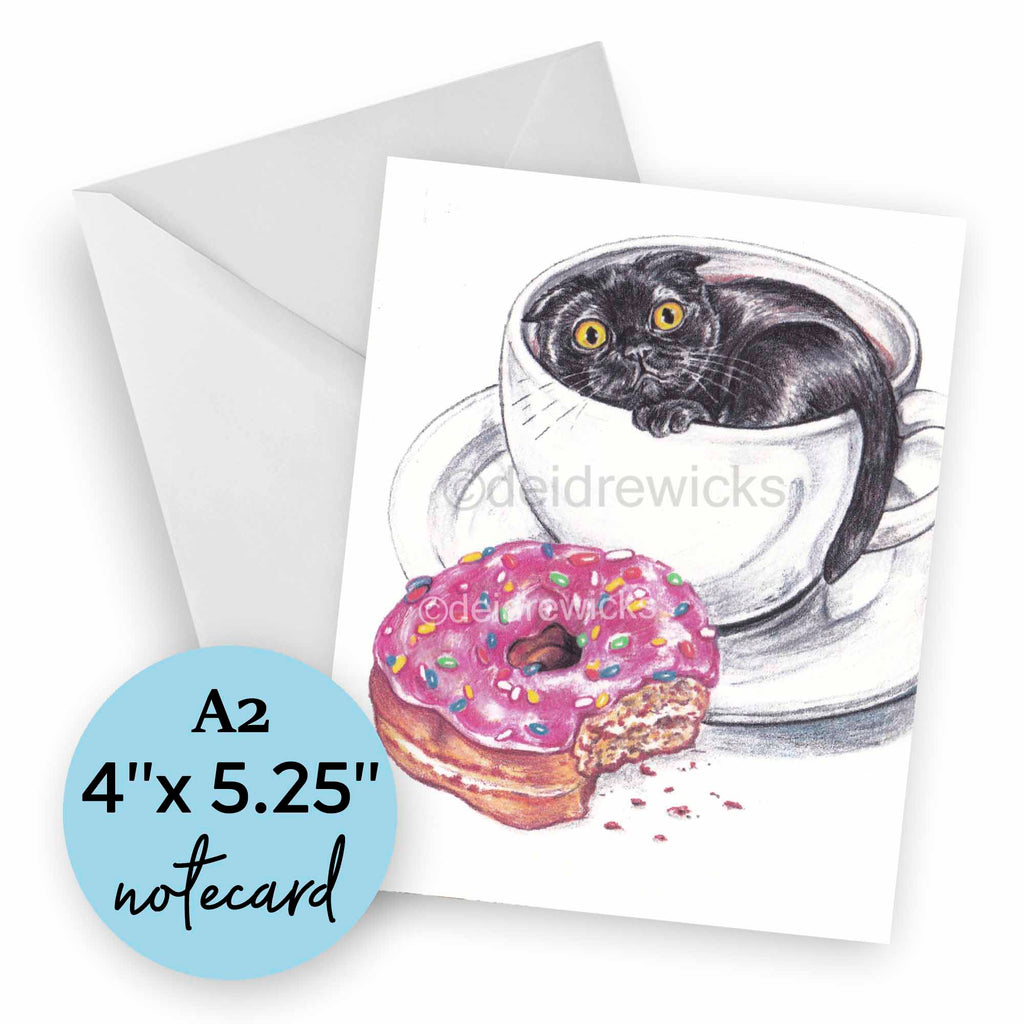 Blank A2 black cat note card featuring original crayon art by Deidre Wicks