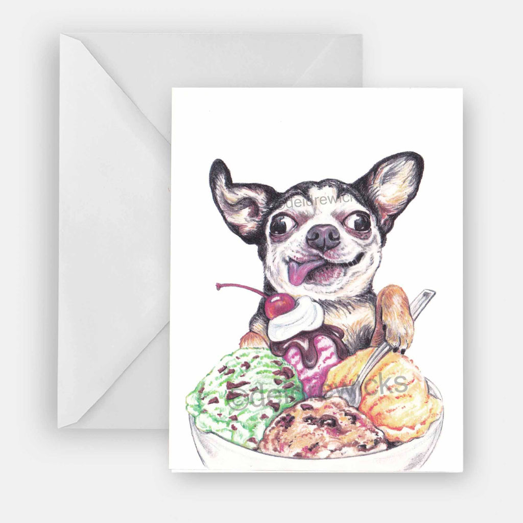 Greeting card featuring a crayon drawing of a Chihuahua dog eating a big bowl of ice cream. Perfect for any occasion.