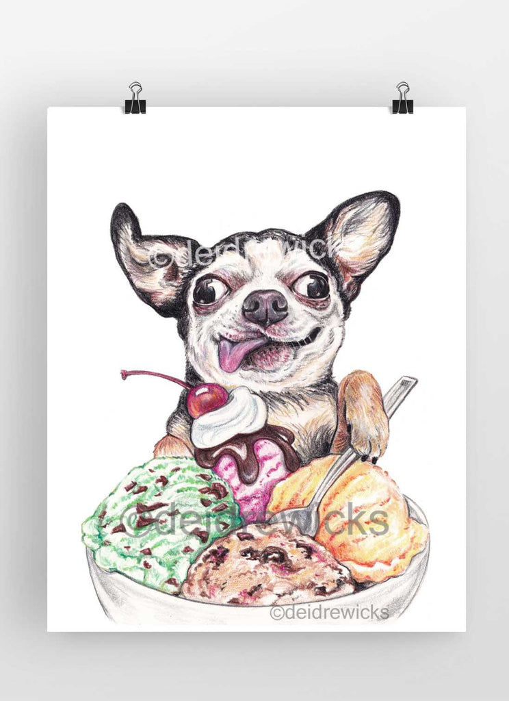 Crayon drawing of a dog eating a bowl of ice cream