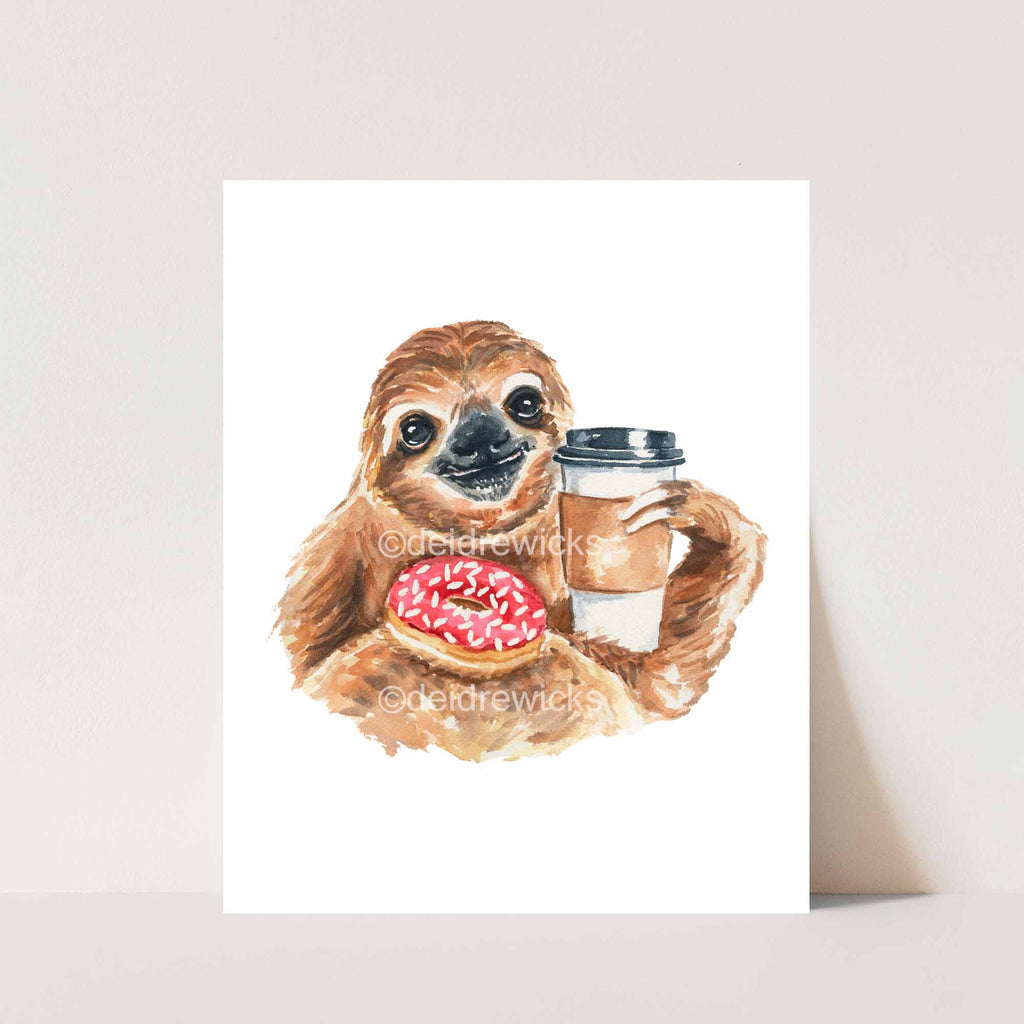 Watercolor print of a sloth drinking coffee and holding a donut on it's stomach