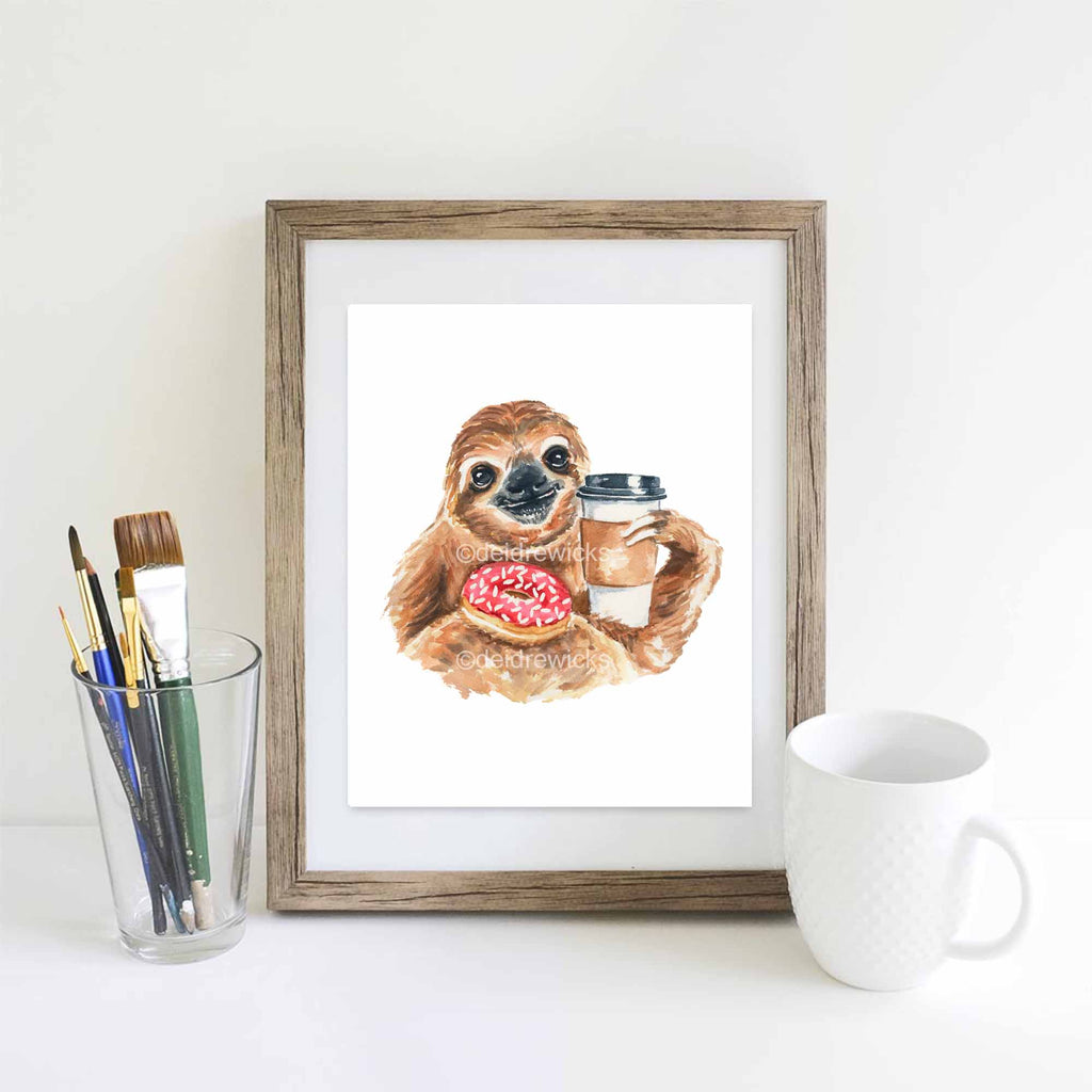 Watercolor painting of a coffee loving sloth by Water In My Paint