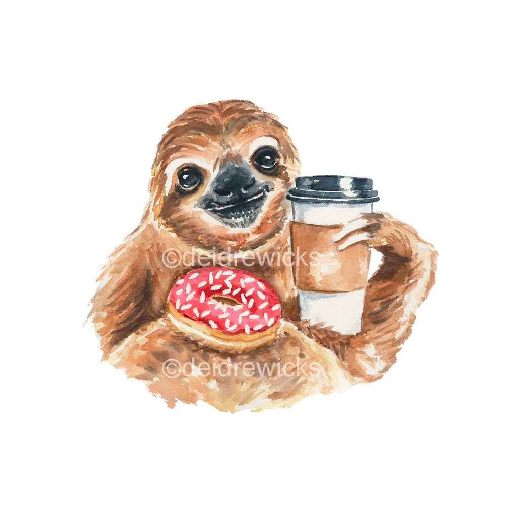 Watercolour painting of a sloth holding coffee and a sprinkle donut