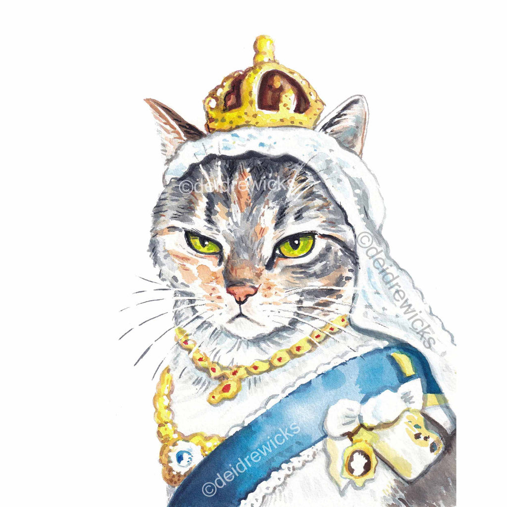 Watercolour painting of a calico cat dressed like Queen Victoria