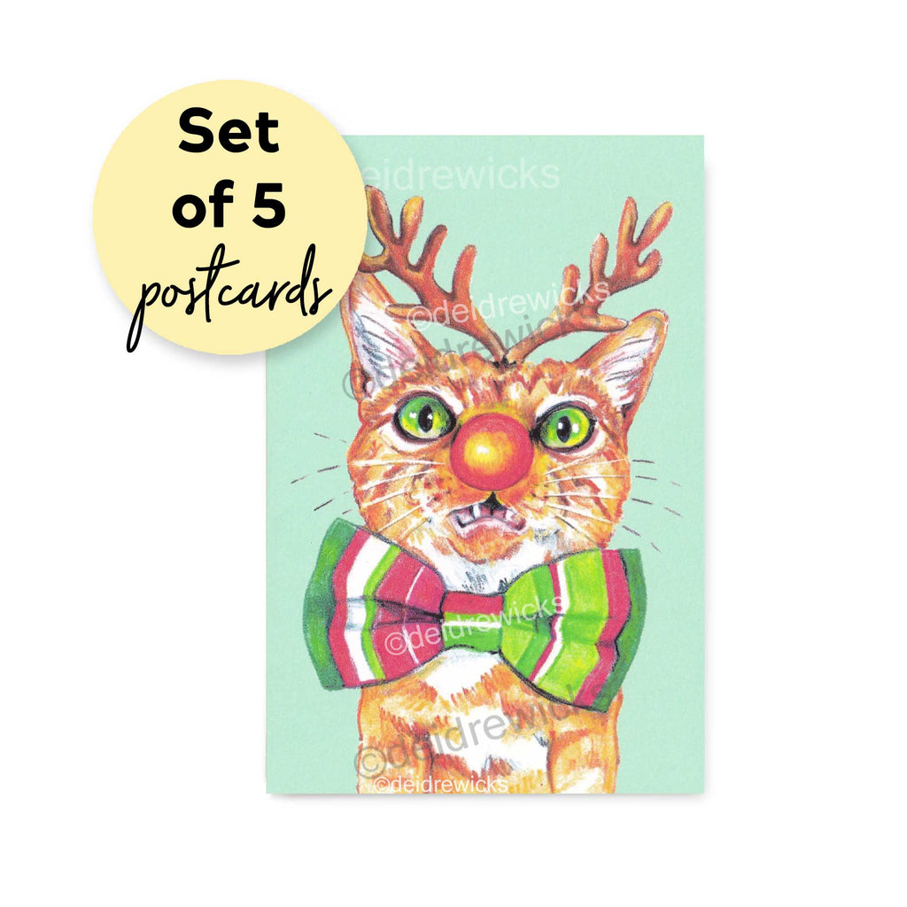 Christmas cat postcard - set of 5, 10 or 15 featuring a cat dressed like a reindeer