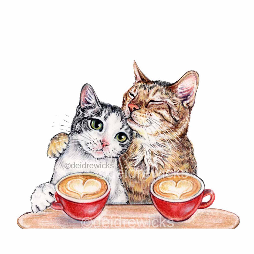 Cats in Love print of a coloured pencil illustration of 2 cats on a coffee date