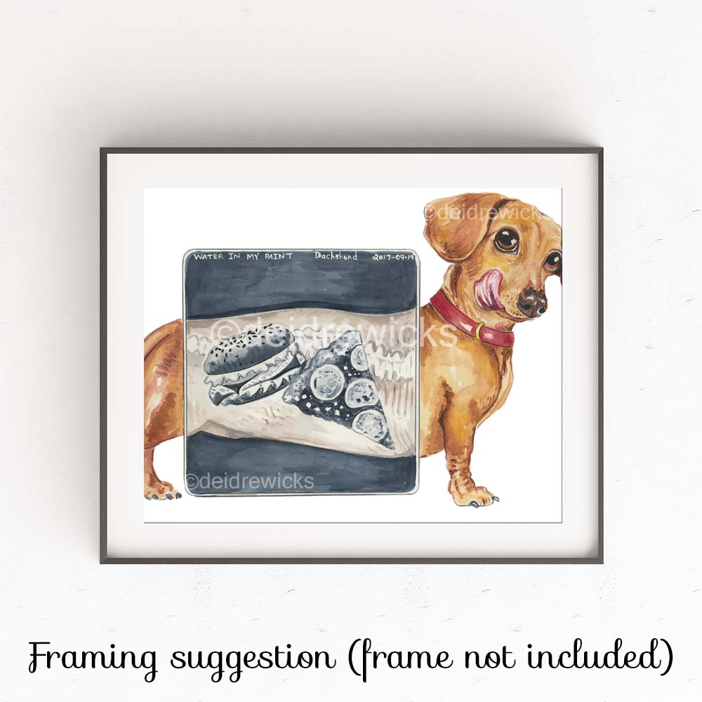 Suggested framing for a dog watercolour fine art print by Deidre Wicks