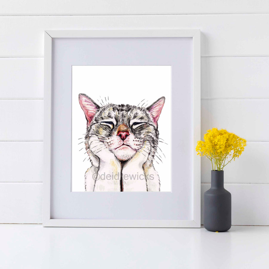 Framed example of a tabby cat crayon art print by Crayon Crumbs