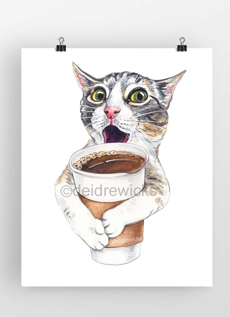 Watercolour painting of a tabby cat holding a large take out coffee cup
