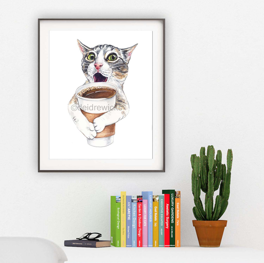 Watercolour of a coffee loving tabby cat by Water In My Paint