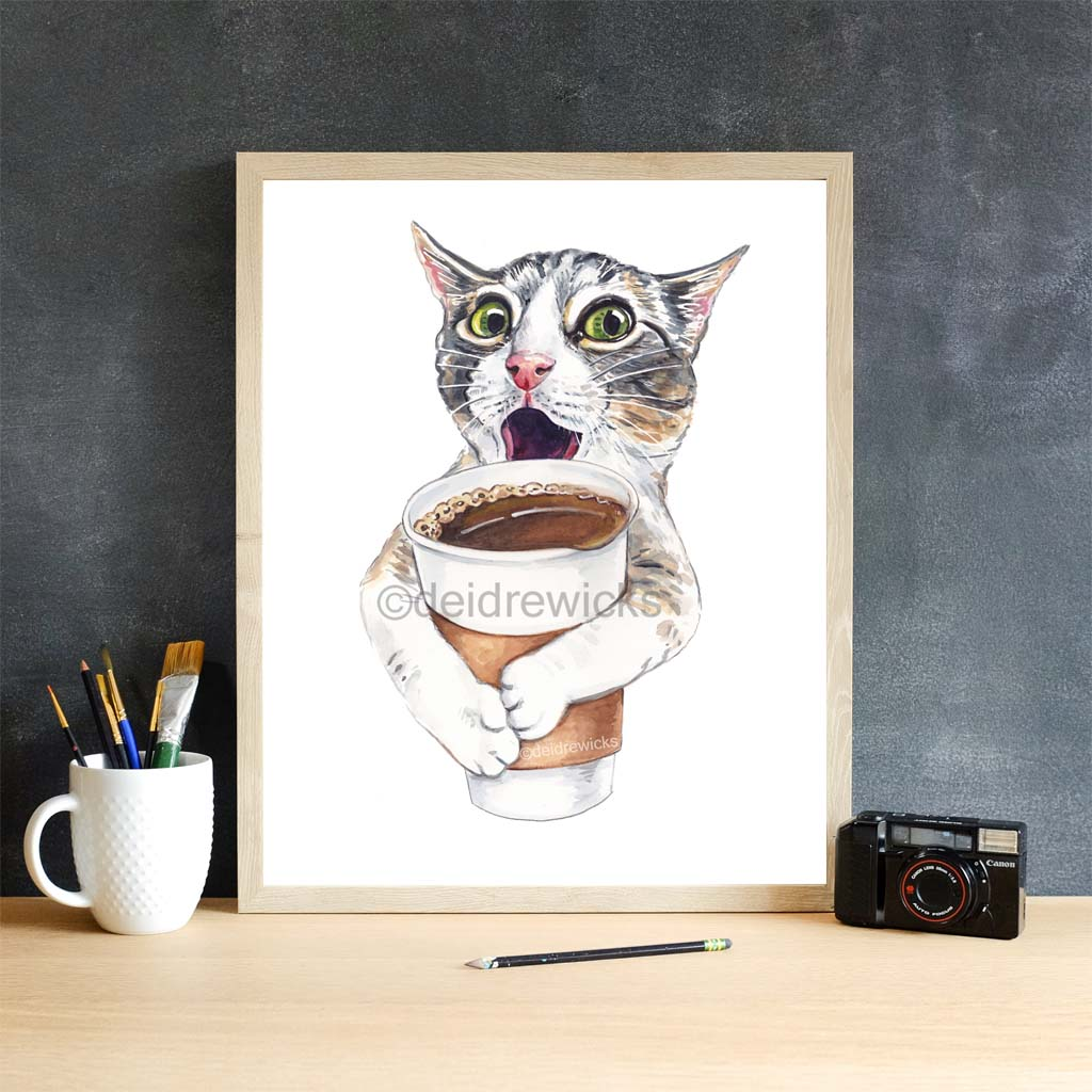 Cat with coffee watercolor print