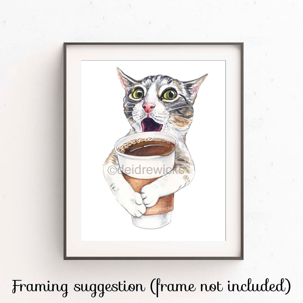 Example of how to frame a cat watercolour print by Deidre Wicks