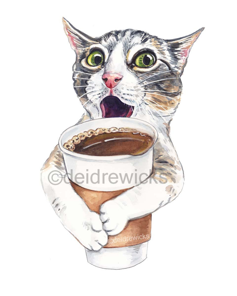 Watercolor painting of a cat about to spill a cup of coffee