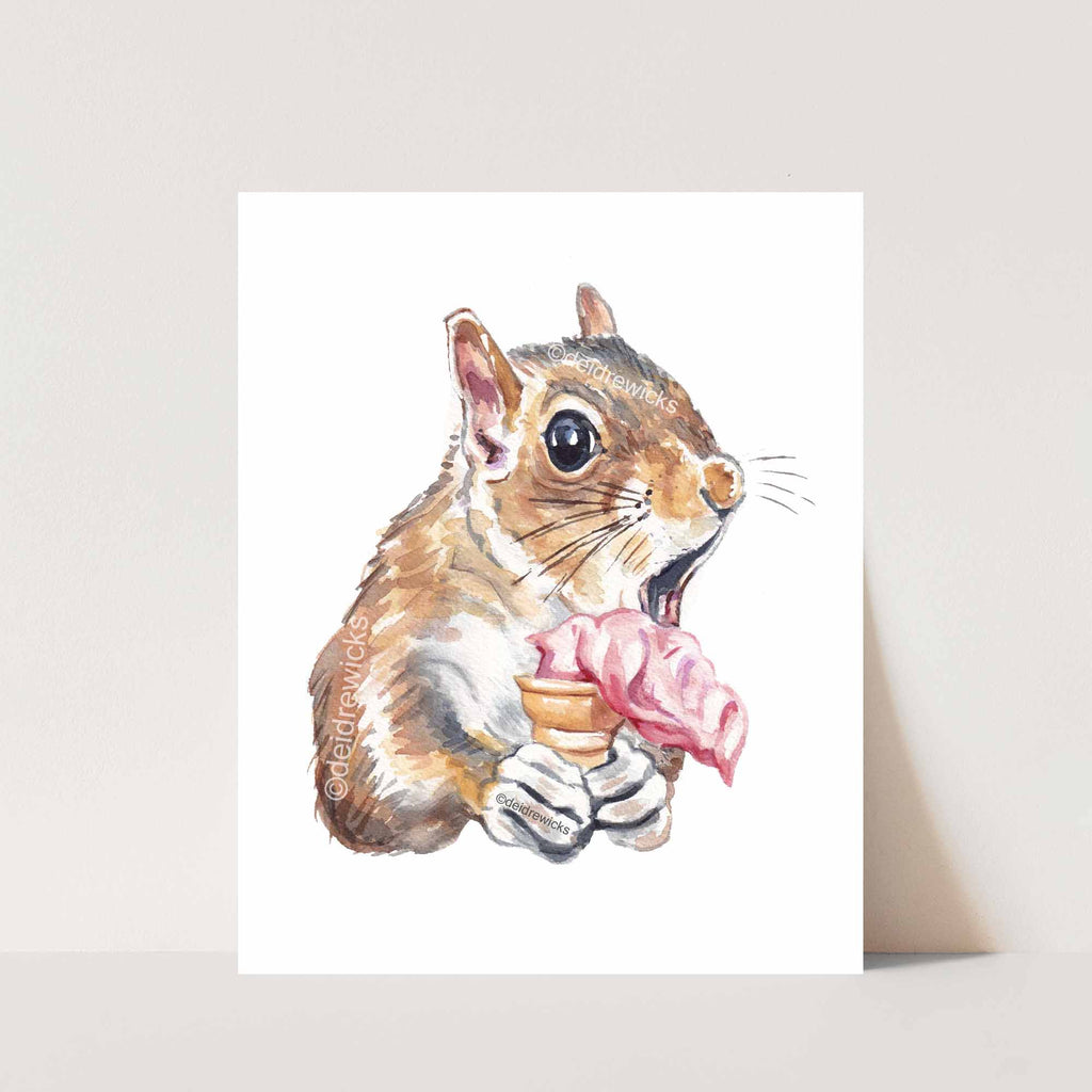Squirrel watercolour print of a shocked little guy about to drop his soft serve ice cream by artist Deidre Wicks