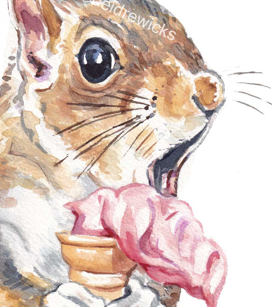 Close up of a squirrel about to dropped his ice cream, watercolour painting by Water In My Paint