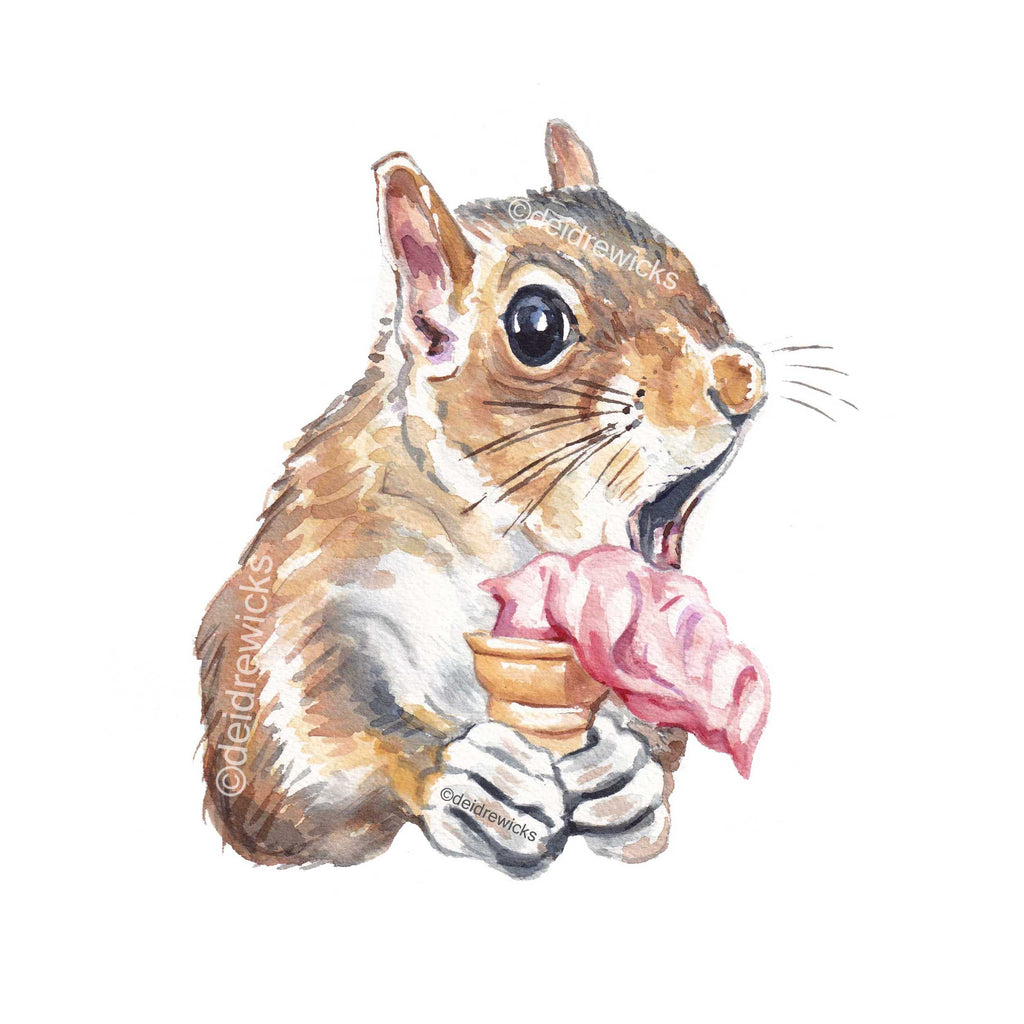 Watercolour painting of a squirrel about to drop his strawberry ice cream