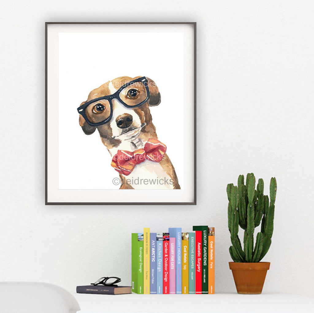 Watercolour painting of a greyhound dog wearing glasses and a bow tie