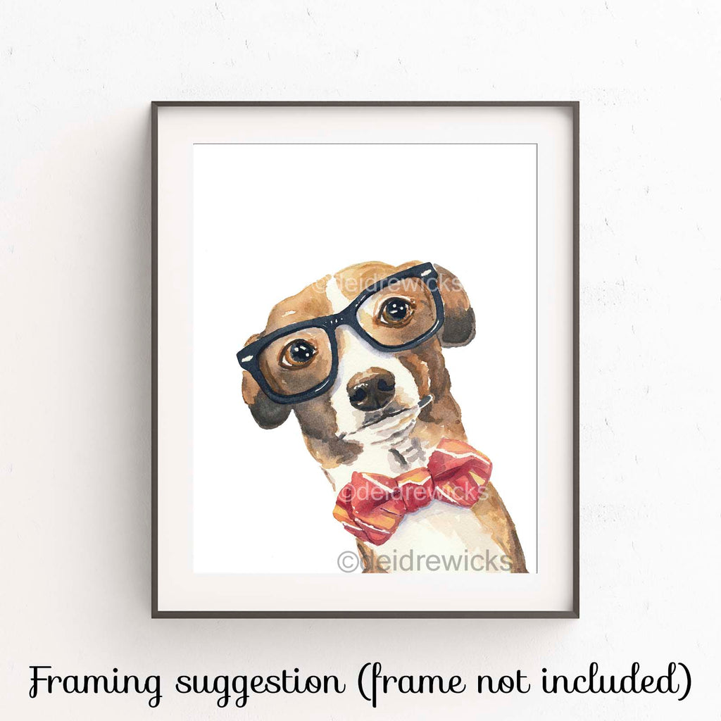 Suggested framing of a dog watercolor print by Deidre Wicks