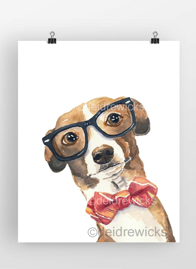 Watercolor painting of an Italian greyhound wearing nerd glasses and a bow tie