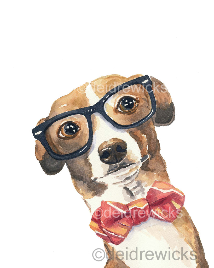 Watercolour print of a nerdy greyhound dog wearing hipster glasses