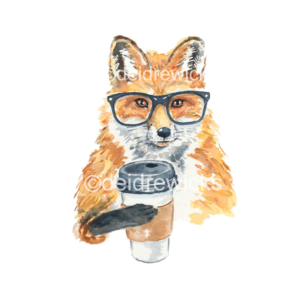 Watercolor painting of a fox wearing glasses while holding a cup of coffee