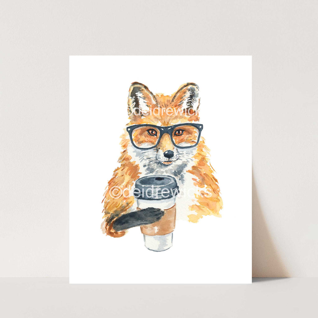 Watercolour print of a fox wearing glasses and holding a take out coffee by artist Deidre Wicks
