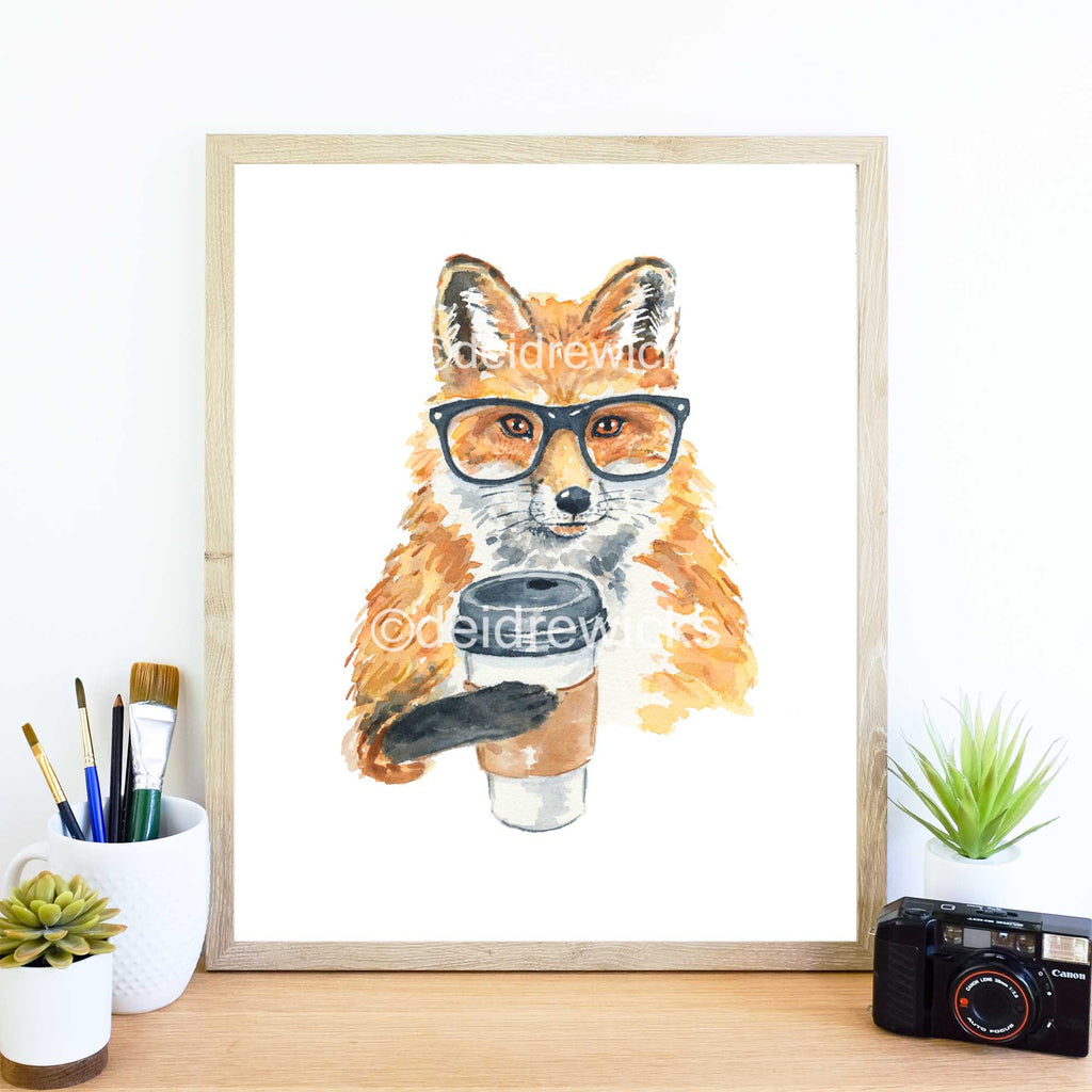 Hipster fox holding coffee by Water In My Paint
