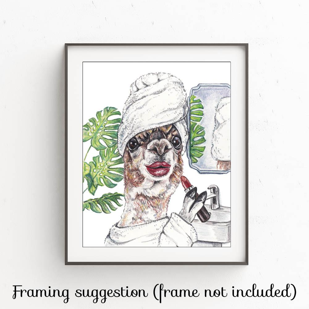 Framing example of a print of a llama getting ready for a night out by Deidre Wicks