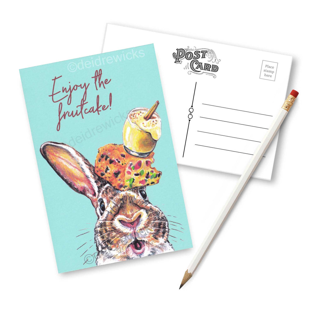 Christmas rabbit postcard - set of post cards featuring original bunny crayon art by Deidre Wicks