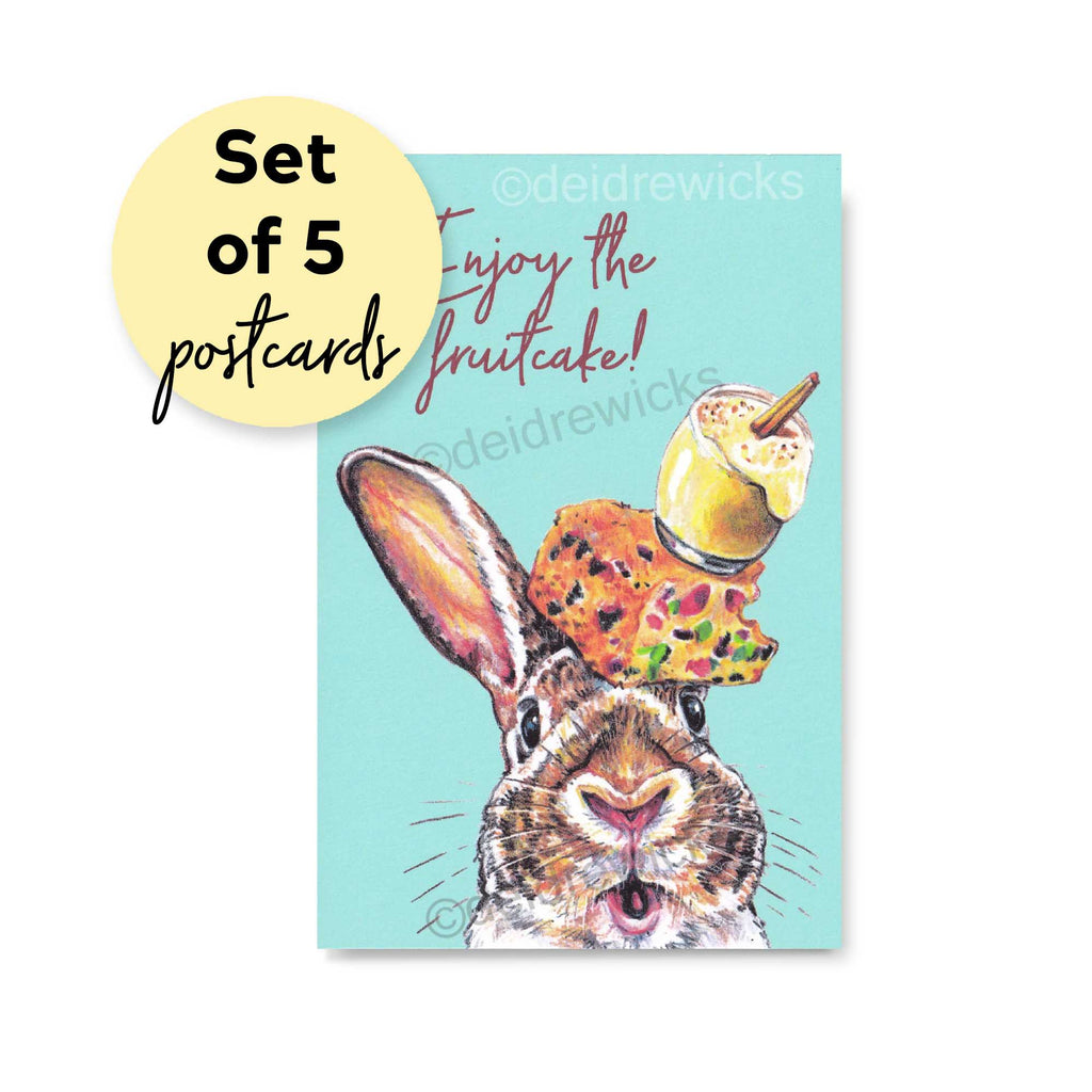 Funny Christmas postcards featuring a rabbit, fruitcake and eggnog