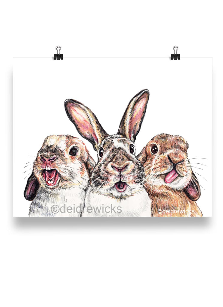 Crayon drawing featuring 3 bunny rabbits with different funny faces