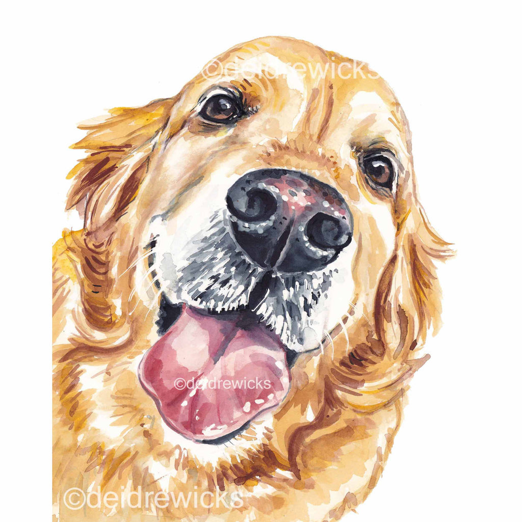 Watercolour painting of a smiling Golden retriever dog
