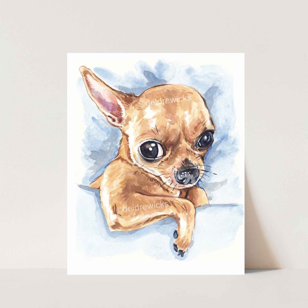 Chihuahua dog watercolour painting fine art print by Deidre Wicks