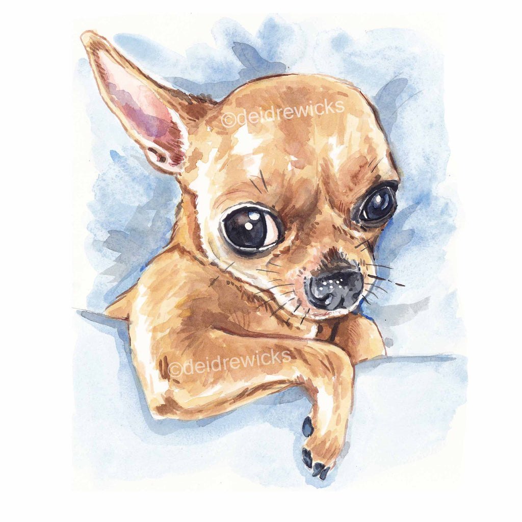 Watercolour painting of a sleepy chihuahua puppy dog